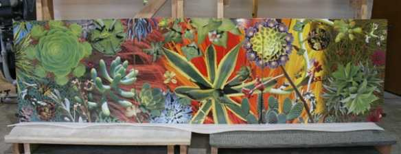 Two of the artwork panels at the fabrication shop – one depicting the urban fabric and the other of flora found in Santa Monica.