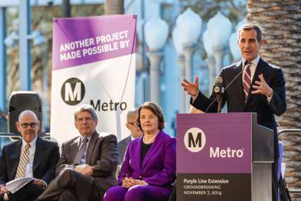 L.A. Mayor Eric Garcetti. At left, Supervisor Zev Yaroslavsky and Sen. Dianne Feinstein. Photo by Steve Hymon/Metro.