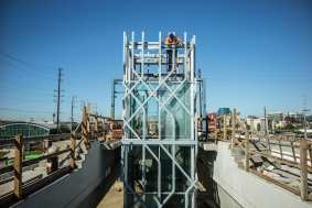 Elevator tower installation at the aerial Exposition/Sepulveda Station.