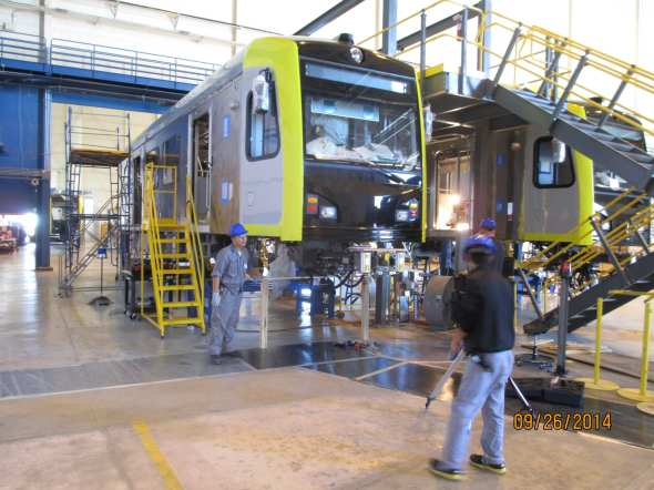 A light rail car being assembled in Palmdale in September at Kinkisharyo's facility. Photo by Metro.