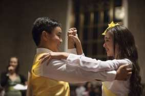 Over 100 fifth-graders from across Los Angeles County competed in five ballroom dances as part of Dancing Classrooms Los Angeles in collaboration with Metro Presents in the Historic Ticketing Hall at Union Station in early November. Photo by Anna Chen/Metro.