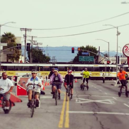 Metro Blue Line train near Central Ave. Hub at CicLAvia South L.A. (Photo: Anna Chen/Metro)