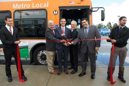 Cutting the ribbon on the new service. From left: Metro CEO Art Leahy, L.A. Mayor Eric Garcetti, L.A. Councilman Paul Krekorian and Michael Cano, deputy to Supervisor Michael D. Antonovich.