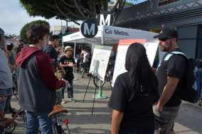 Metro booth at Leimert Plaza during CicLAvia South L.A. (Photo: Joseph Lemon/Metro)