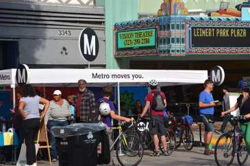 Metro's booth at Leimert Plaza during CicLAvia South L.A. (Photo: Joseph Lemon/Metro)