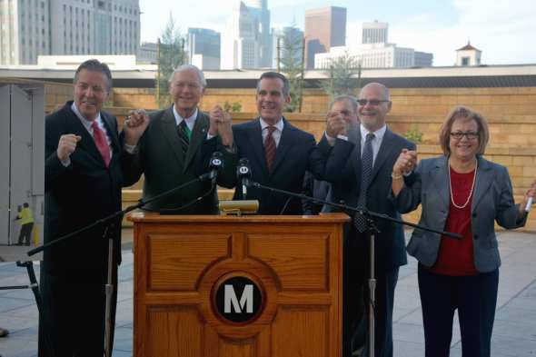 From left: XX, Supervisor Michael D. Antonovich, L.A. Mayor Eric Garcetti, XX and Los Angeles County Federation of Labor's Maria Elena Durazo.