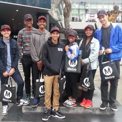 Arriving at the Staples Center and ready for their NBA Experience!