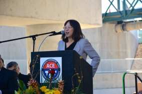 Metro Deputy CEO Lindy Lee speaking at this morning's event.