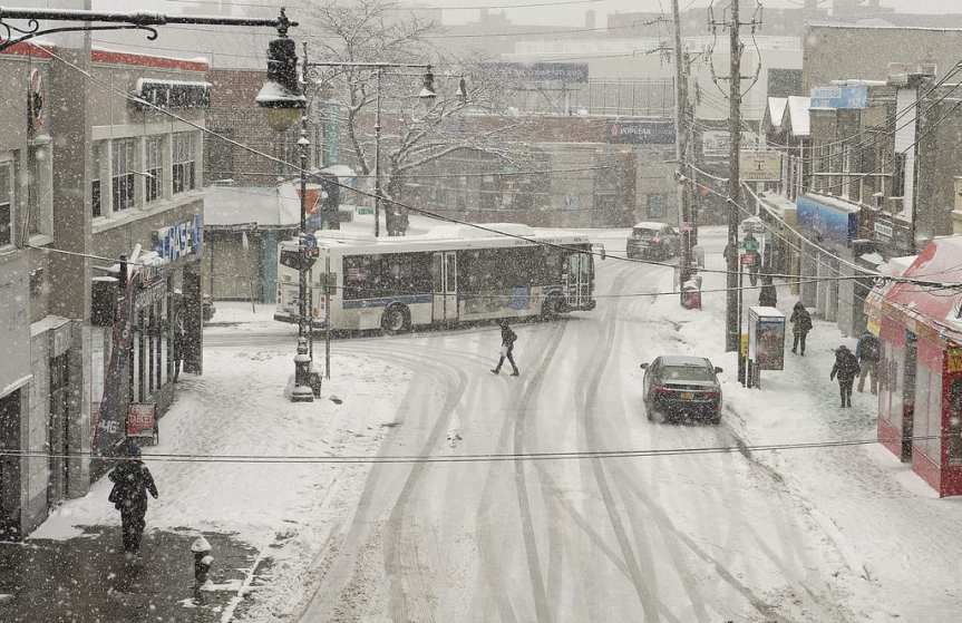 ART OF TRANSIT: The scene yesterday in Sheepshead Bay in Brooklyn. Brr. Photo by New York MTA, via Flickr creative commons.