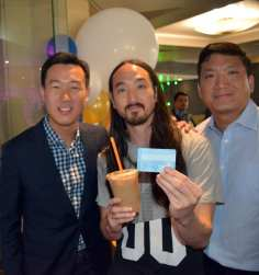 Co-founders Michael Riady (right) and Rutt Premsrirut (right) with Steve Aoki. Photo: Mark Arroyo/Metro