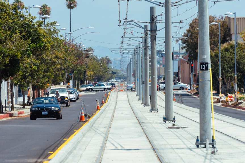 Looking east down Colorado Avenue in Santa Monica from Lincoln Boulevard.