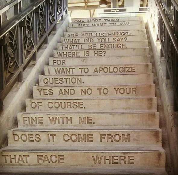 Poetry on the stairs of Douglas Green Line Station. (Photo via Instagram @escobarbilly)