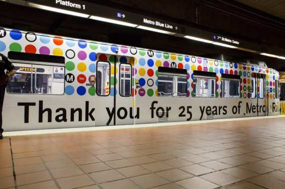 Metro Rail 25th anniversary commemorative train cover. Photo: Peter Watkinson/Metro