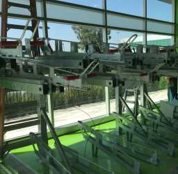 The high-capacity facility contains two tiers of bicycle racks.