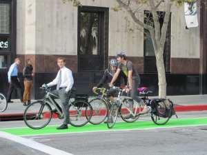 The Spring Street bike lane in DTLA. Photo: LADOT.