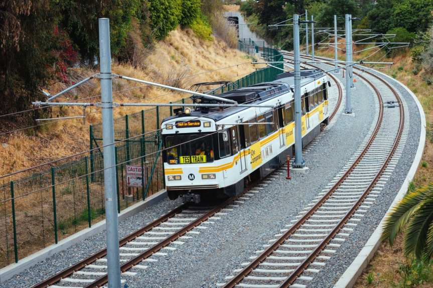 The challenge is figuring out a path on nearby streets for the Expo Line 2 pathway roughly adjacent to this stretch of tracks through the Northvale trench. Photo: Metro.