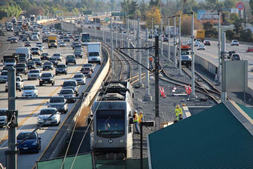 Gold Line clearance testing this spring -- looking east toward Arcadia. Test trains are currently running under their own power. Photo: Steve Hymon/Metro.