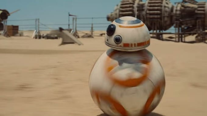 """BB-8 as seen in a trailer for """"Star Wars: The Force Awakens."""" Credit: Lucasfilm/Disney."""