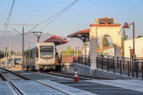 A Gold Line test train at Downtown Azusa Station.