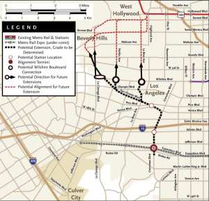 A map from a 2009 Metro study that briefly explored some possible extensions for the Crenshaw/LAX Line that could be studied further in the future. Click to see larger.