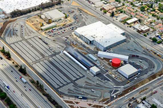 An aerial view of the new rail yard in Monrovia.