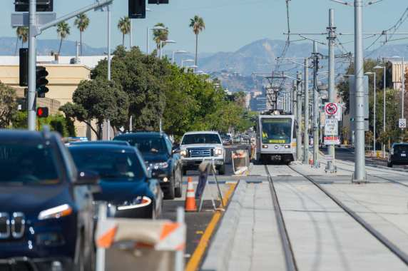 A test train headed west along Colorado Avenue.