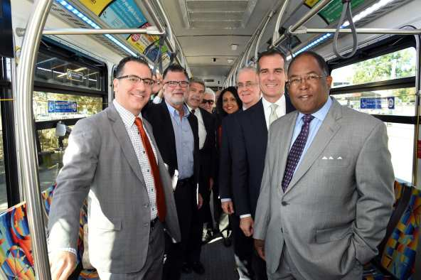 Elected officials on the Orange Line this morning. Photos: Metro.