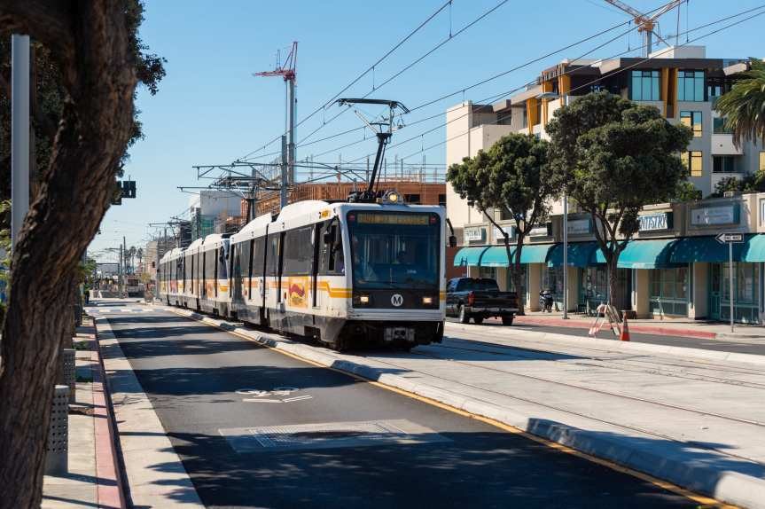 An eastbound Expo Line test train on Colorado Avenue in Santa Monica in October before the temporary fencing was erected. Photo: Steve Hymon/Metro.