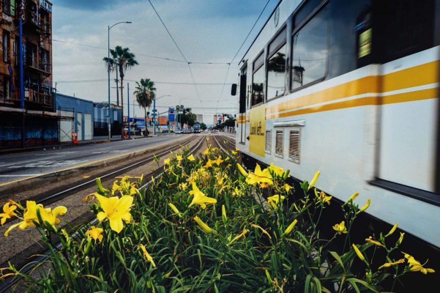 The Blue Line on Washington Boulevard. Photo by Steve Hymon/Metro.