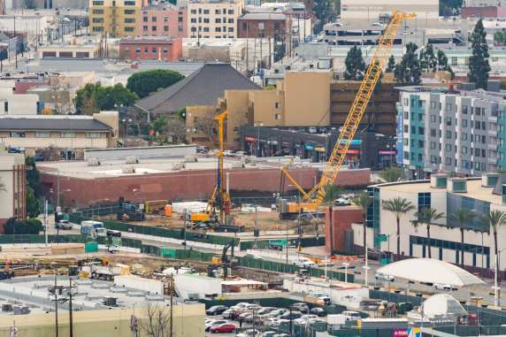 This view shows the south end of the existing Little Tokyo/Arts District Station that is at street level. It will eventually be moved underground where the big yellow cranes are.