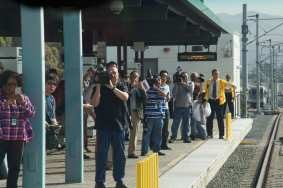 Media waiting for the Gold Line train. Photo by Gary Leonard for Metro.