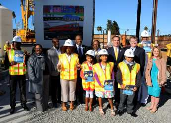 Contest winners with Metro Board Members James Butts, Mark Ridley-Thomas, Eric Garcetti and John Fasana.