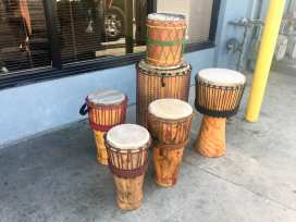 West African-style drums created from displaced trees along Crenshaw Blvd. Photo: Metro