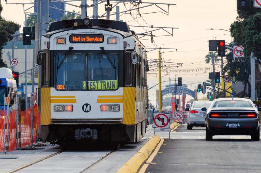 A westbound Expo Line test train heads toward the Downtown Santa Monica Station at 4th and Colorado Avenue on Tuesday. Photos by Steve Hymon/Metro.