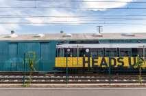 An eastbound train departing 26th/Bergamot Station.