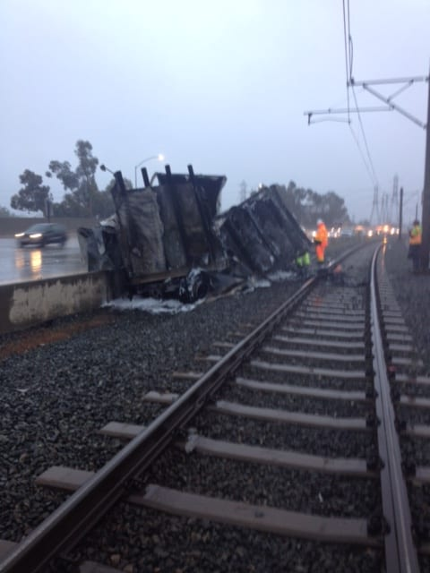 The scene of the accident early Sunday morning. Photo: Metro.
