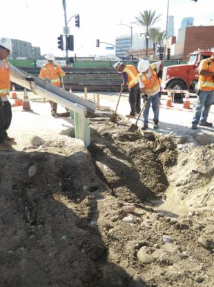 Trenching work for pile installation at 1st and Alameda.
