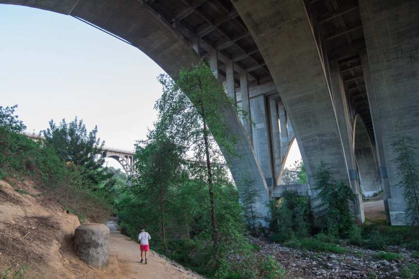 The bridges that carry the 210 and Colorado Boulevard, respectively, over the Arroyo Seco in Pasadena. Photo by Steve Hymon.