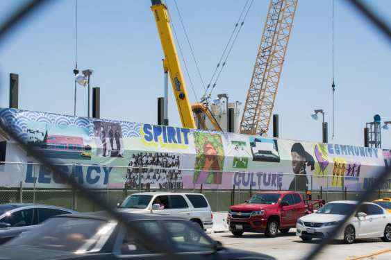 Temporary artwork banners along Crenshaw Boulevard near Crenshaw/Expo.
