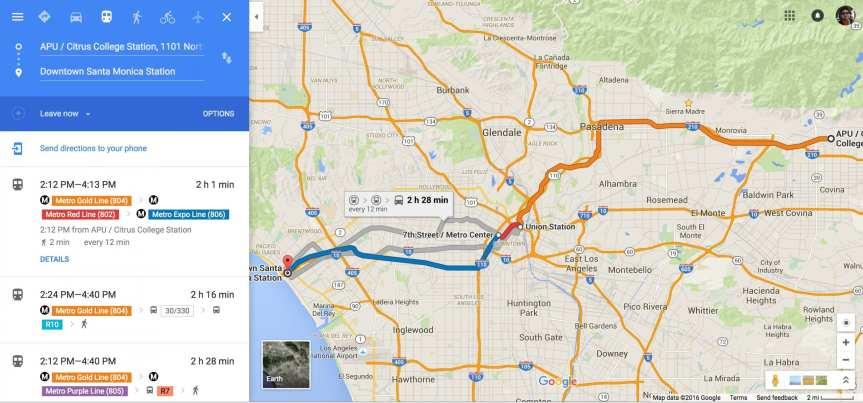 The Azusa-to-SaMo trip as seen on Google Maps.