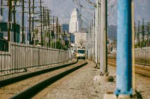 A southbound A Line (Blue) train on the stretch of tracks along Long Beach Boulevard. Photo by Steve Hymon/Metro.