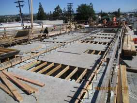 Deck construction begins to take form on the bridge over La Brea Avenue.
