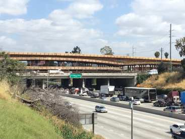 Crenshaw/LAX Rail Bridge over the I-405 freeway at Florence Avenue.