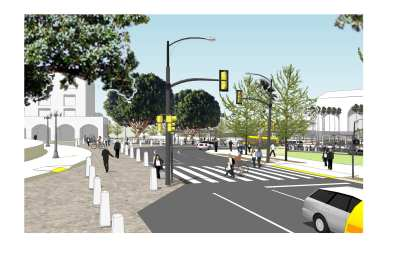 Rendering of future crosswalk and expanded sidewalks.