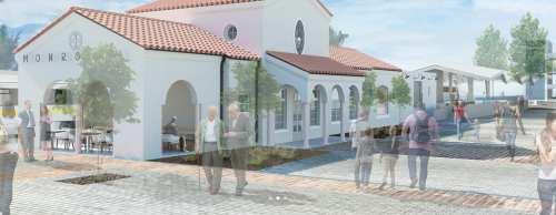 Rendering of Monrovia Santa Fe Depot by Samuelson & Fetter.