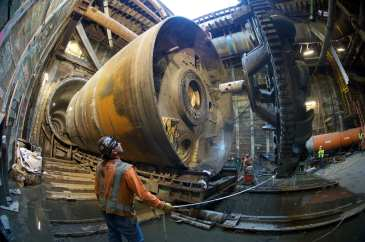 The tunnel boring machine cutterhead is removed from the rest of the machine. Photo by Gary Leonard.