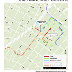 Flower St weekend closures, July 2018 - Detour A