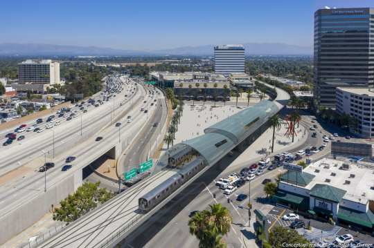 A rendering of the aerial heavy rail option at Sepulveda and Greenleaf in the San Fernando Valley.