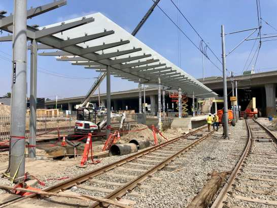 The platform being extended at Willowbrook/Rosa Parks Station. Photos by LA Metro.