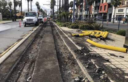 Rails being replaced along Long Beach Boulevard in 2019.